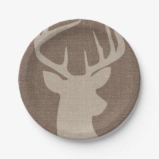 Dólar rústico el   de los ciervos de la arpillera plato de papel de 7 pulgadas