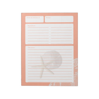 Dólar y cordón de arena de la página de la receta bloc de papel