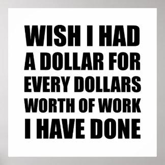 Dólares de valor del trabajo póster