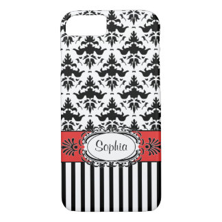 Dolce Vita Retro Red, Black and White Damask iPhone 8/7 Case