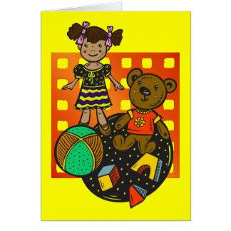 Doll Bear and Ball Toys Card