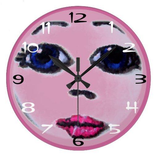 Doll Face (dk pink) Clocks