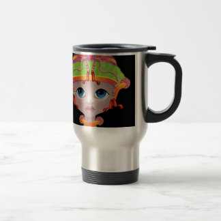 Doll face with fond colours travel mug