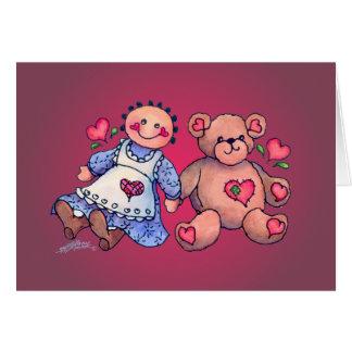 DOLL, HEARTS & BEAR by SHARON SHARPE Card