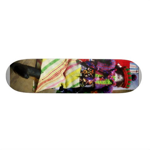 Doll in Colorful Outfil Custom Skate Board