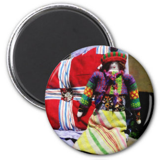 Doll in Colorful Outfil 2 Inch Round Magnet