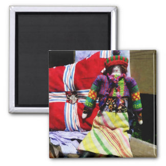 Doll in Colorful Outfil 2 Inch Square Magnet