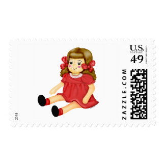 Doll in Red Postage Stamps