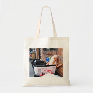 Doll in Trash Tote Canvas Bags