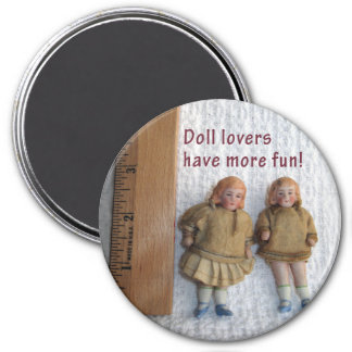 Doll Lovers Twin Antique Doll Magnets, Round 3 Inch Round Magnet