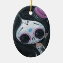 sugarfueled, sugar, fueled, dayofthedead, girl, skull, cute, creepy, michaelbanks, heart, spiderweb, Ornament with custom graphic design