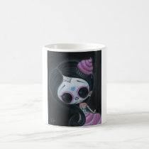 sugarfueled, sugar, fueled, dayofthedead, girl, skull, cute, creepy, michaelbanks, heart, spiderweb, Caneca com design gráfico personalizado