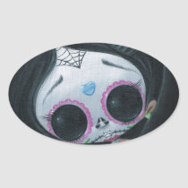 sugarfueled, sugar, fueled, dayofthedead, girl, skull, cute, creepy, michaelbanks, heart, spiderweb, Sticker with custom graphic design