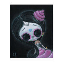 sugarfueled, sugar, fueled, dayofthedead, girl, skull, cute, creepy, michaelbanks, heart, spiderweb, Postcard with custom graphic design