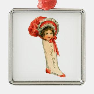 Doll Stocking Metal Ornament