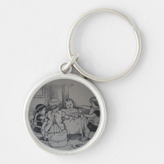 Doll Tea Party keyring Silver-Colored Round Keychain