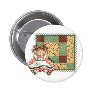 Doll with Quilt 2 Inch Round Button