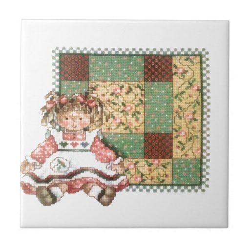 25 Creative Patchwork Tile Ideas Full Of Color And Pattern: Doll With Quilt Ceramic Tile