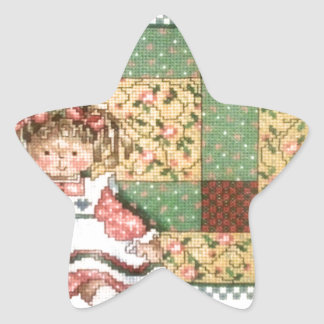 Doll with Quilt Star Sticker