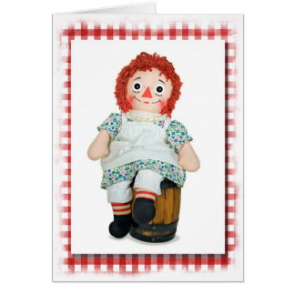 Doll with red gingham frame greeting card