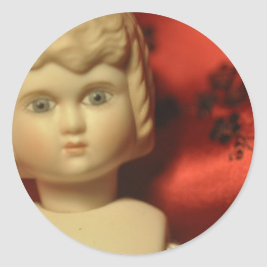 doll with satin background classic round sticker