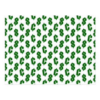 Dollar and cent signs pattern post card