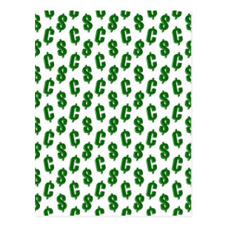 Dollar and cent signs pattern post cards