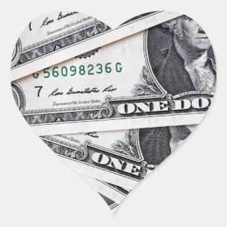 Dollar notes 1 Dollar Heart Sticker
