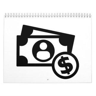Dollar notes coins calendar