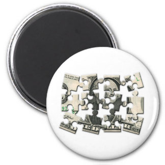 Dollar Puzzle 2 Inch Round Magnet