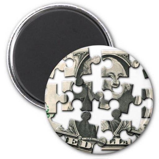 Dollar Puzzle 2 Inch Round Magnet