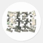 Dollar Puzzle Round Sticker