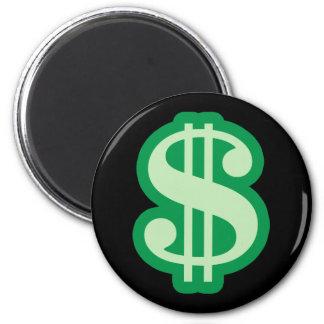Dollar Sign 2 Inch Round Magnet