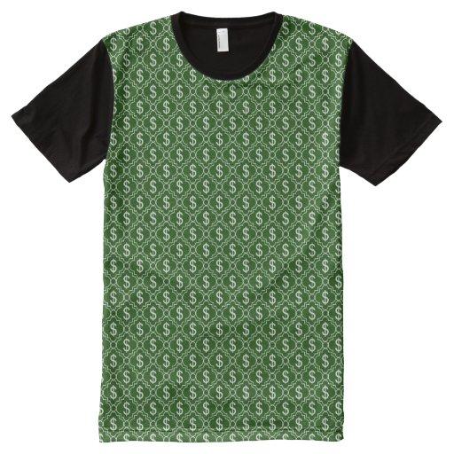 Dollar sign all over print shirt zazzle for Vista print tee shirt