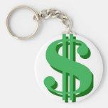 $ dollar-sign basic round button keychain