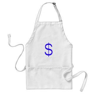 Dollar Sign$ Black Blue Red Adult Apron