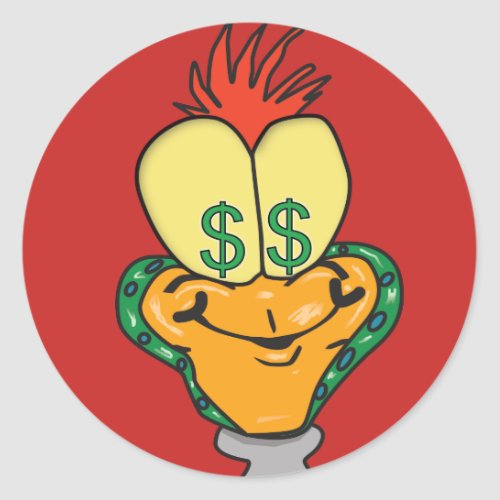 Dollar sign cartoon character classic round sticker