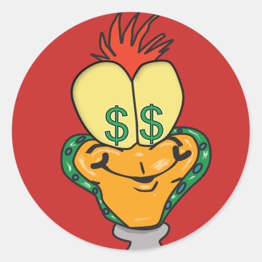 Dollar sign cartoon character classic round sticker