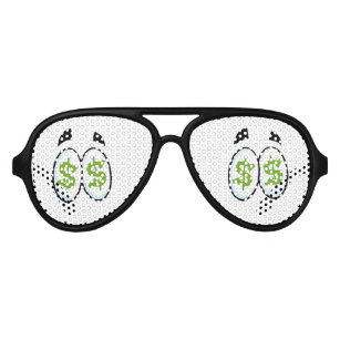 533b2cdaa25e Dollar Sign Cartoon Eyes Money Cash Aviator Sunglasses