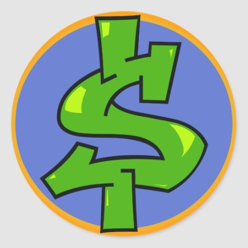 Dollar Sign Classic Round Sticker