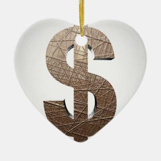 Dollar sign Double-Sided heart ceramic christmas ornament