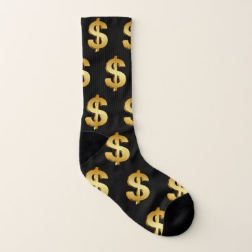 Dollar Sign Gold Black Fun Socks
