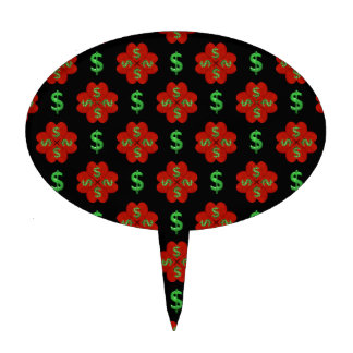 Dollar Sign Graphic Pattern Cake Topper