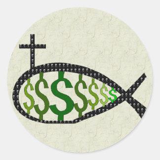 Dollar Sign Jesus Fish Classic Round Sticker