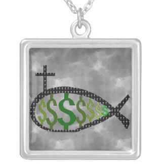 Dollar Sign Jesus Fish Square Pendant Necklace