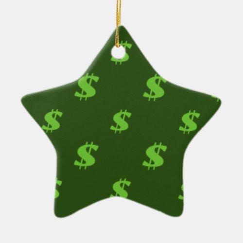 Dollar sign pattern ceramic ornament