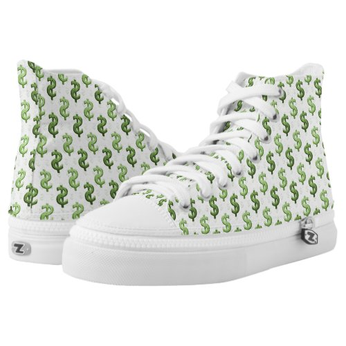 Dollar Sign Pattern High_Top Sneakers