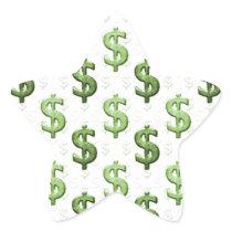 Dollar Sign Pattern Star Sticker