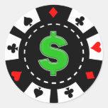 DOLLAR SIGN POKER CHIP ROUND STICKERS