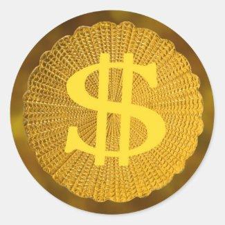 dollar sign round sticker